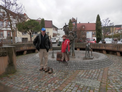 Arriving in Deidesheim.  Sam liked the suitcase in this sculpture plaza