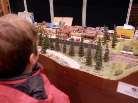 Model train exhibit at the market