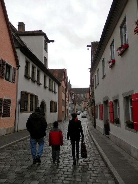 My three favorite people walking through Rothenburg - heading to the Christmas market