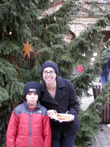 Rothenburg Christmas Market - Sam is so happy to be at a Christmas market