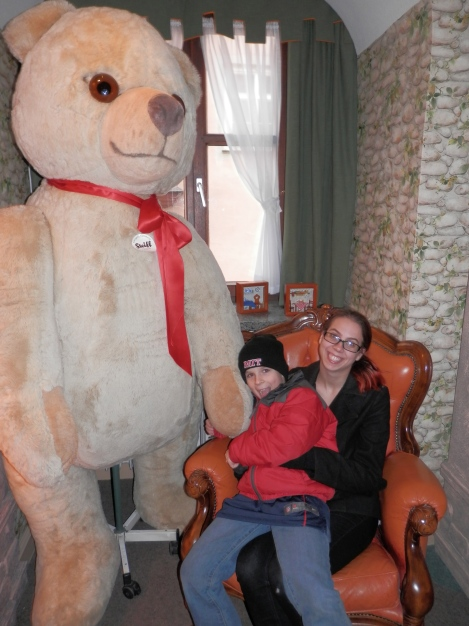 Kelly and Sam with a large Steiff bear in Rothenburg