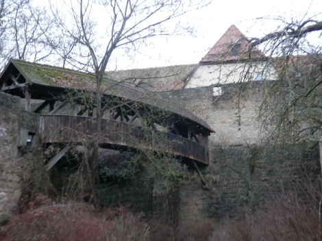 Wood bridge near Spitalbastei Rothenburg